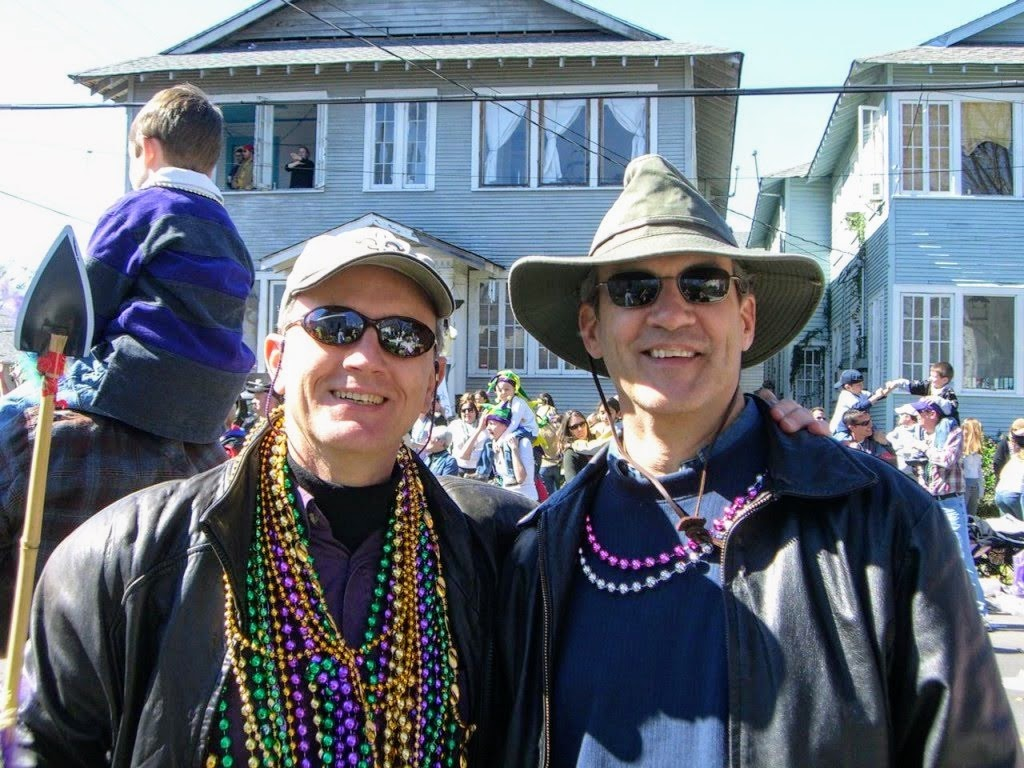Chris Schroder and Charles Driebe at Mardi Gras