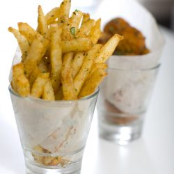 French fries served in glasses dispells the dilemma of fingers versus fork. Photo by Heidi Geldh