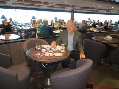 My husband, Chris, in the Top Sail Lounge where we enjoyed many drinks during our week-long sail. Martinis and mojitos were special favorites.