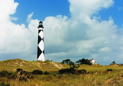 A lighthouse at Cape Lookout on the Crystal Coast of North Carolina.