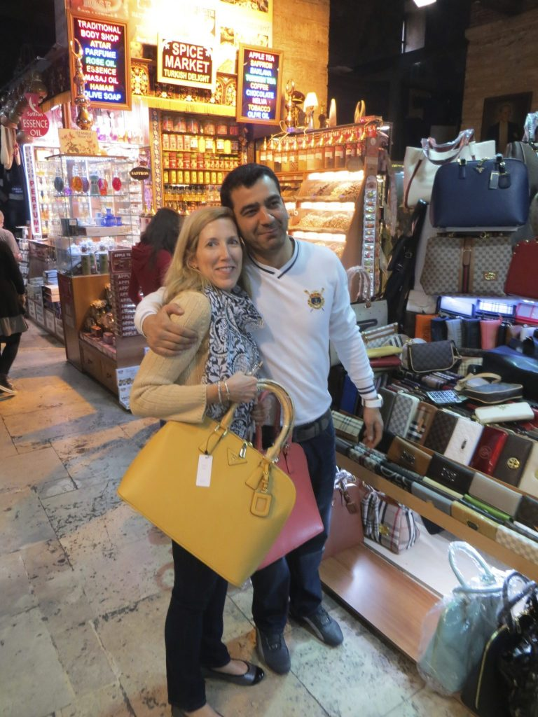My new friend in the Grand Bazaar in Istanbul, Turkey where we enjoyed a frenzied haggling session over bags and wallets.