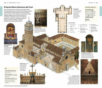 An illustration can depict some things a photo can't - for example, an inside look at Santa Maria Gloriosa dei Frari