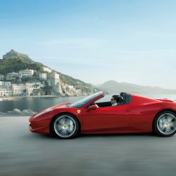A Ferrari 458 Spider is one of the luxury cars available for rental from Luxury Car Rental Club.