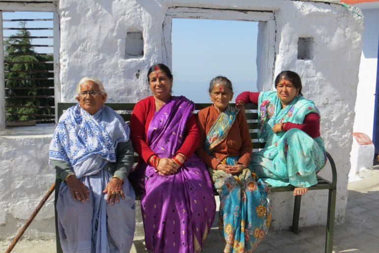 ladies at temple, Himalayas