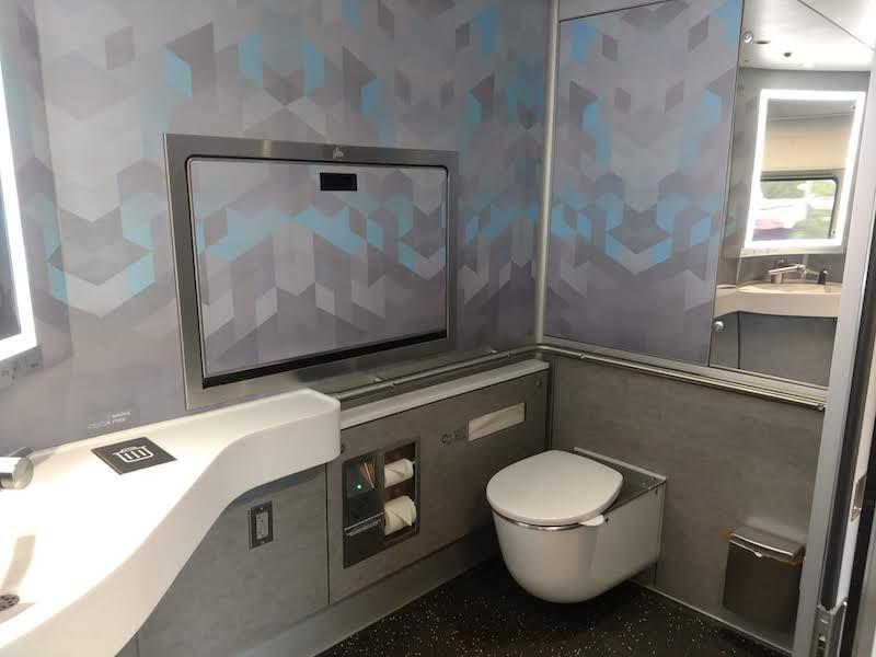 bathroom on a Brightline train