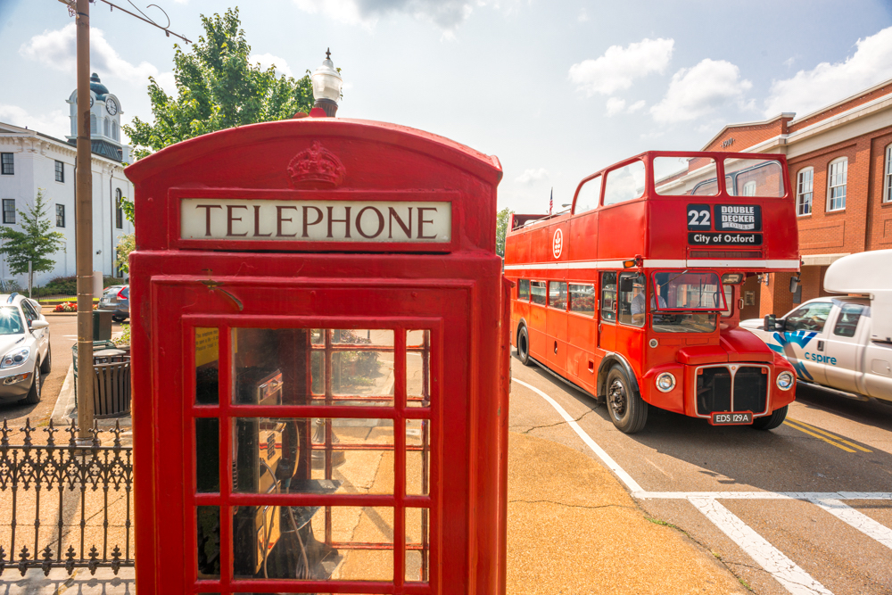 phone booth and double decker bus in Oxford, Mississippi