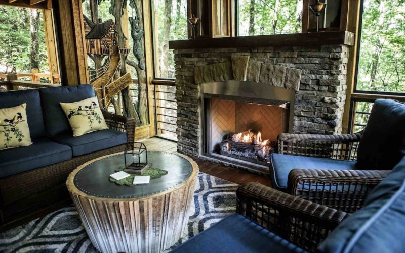 Screened in porch of Inn the Ravine luxury treehouse in north georgia
