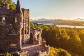castle overlooking lake
