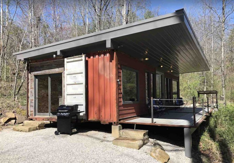 shipping container cabin in red river gorge