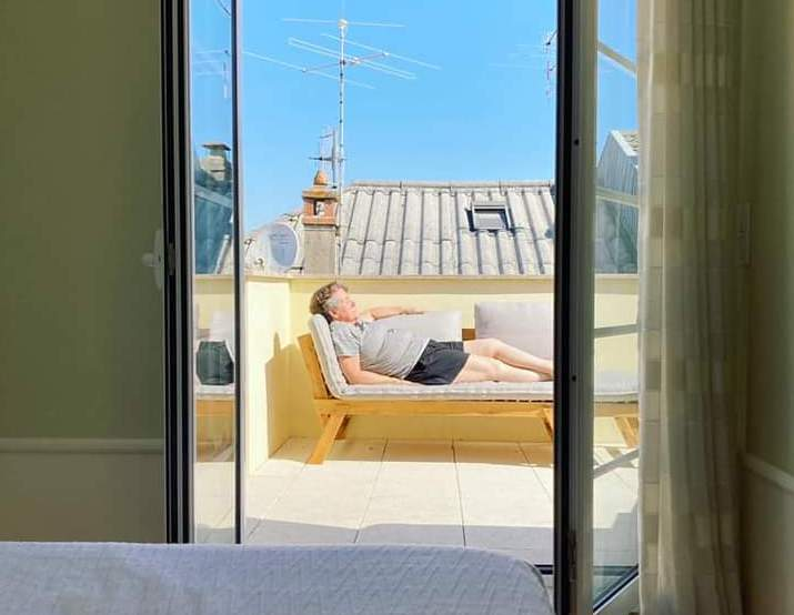 Alicia Philipp on her balcony in Viseu, Portugal.