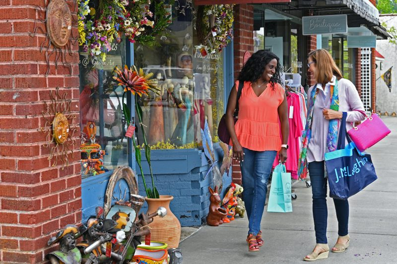 women shopping on main street in downtown blowing rock, one of the most popular things to do in blowing rock, nc