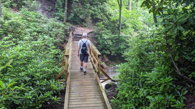 chris schroder hiking the glen burney falls trail in blowing rock